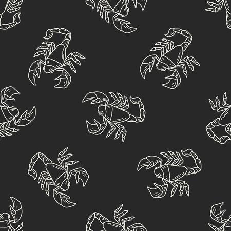 star mascot: Scorpion doodle seamless pattern background