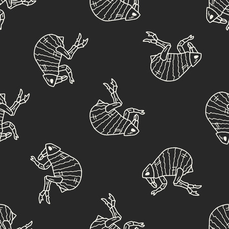 louse: Flea doodle seamless pattern background Illustration