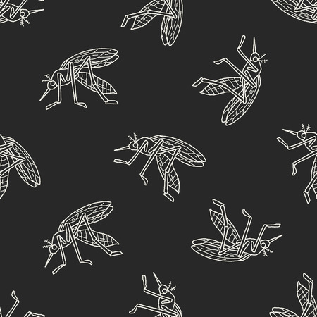 infectious: mosquito doodle seamless pattern background Illustration