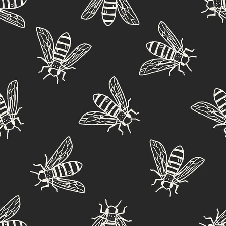 bee doodle seamless pattern background  イラスト・ベクター素材