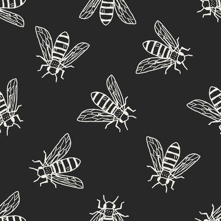 avispa: doodle de abeja patrón de fondo sin fisuras