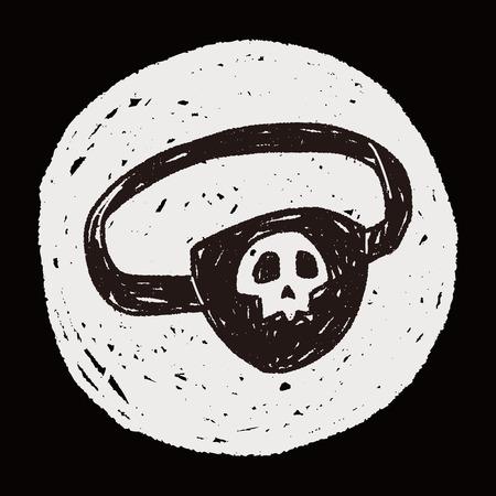 eyepatch: pirate eye mask doodle Illustration