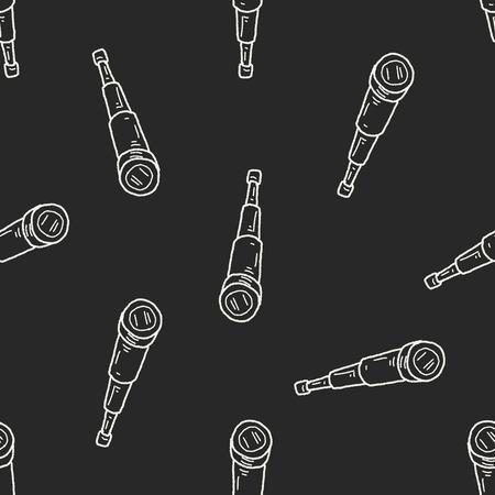 antique binoculars: telescope doodle seamless pattern background Illustration