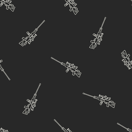 vintage military rifle: Sniper rifle doodle seamless pattern background