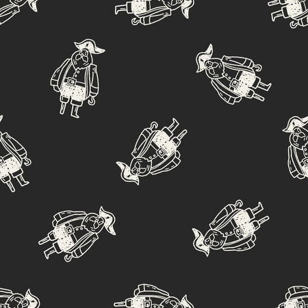 pirate captain: pirate captain doodle seamless pattern background