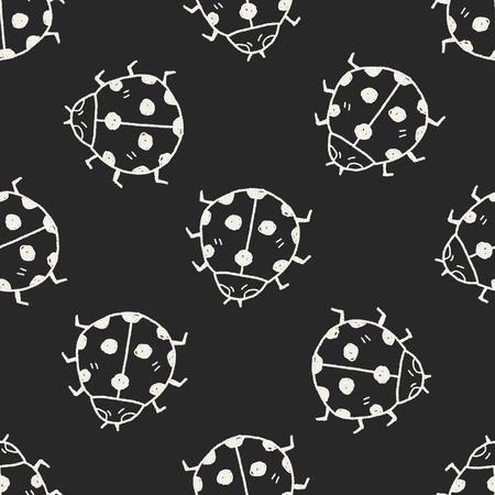 ladybug: Ladybug doodle seamless pattern background Illustration