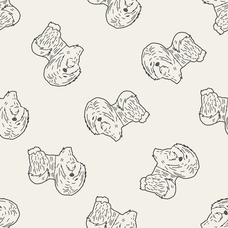 labrador doodle: dog doodle seamless pattern background Illustration