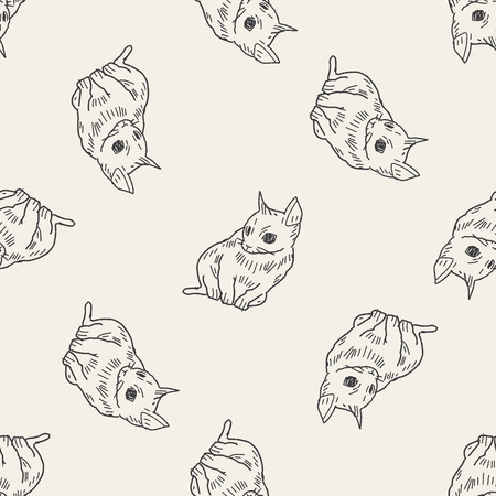 cat doodle drawing seamless pattern background Vector