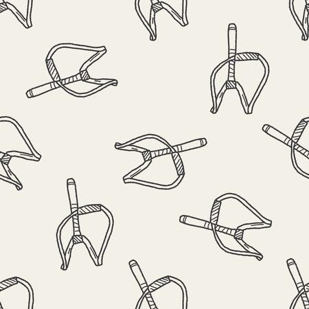 Slingshot doodle seamless pattern background 일러스트