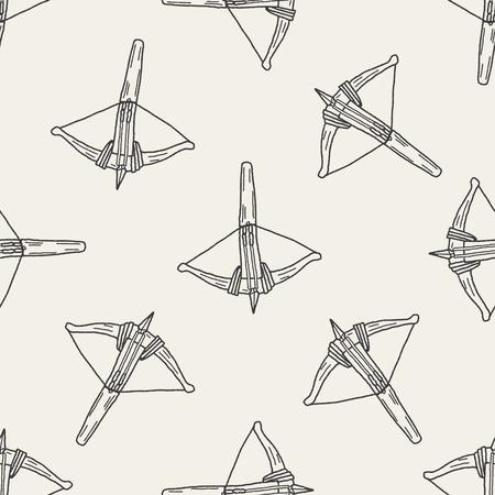 armbrust: Crossbow doodle nahtlose Muster Hintergrund