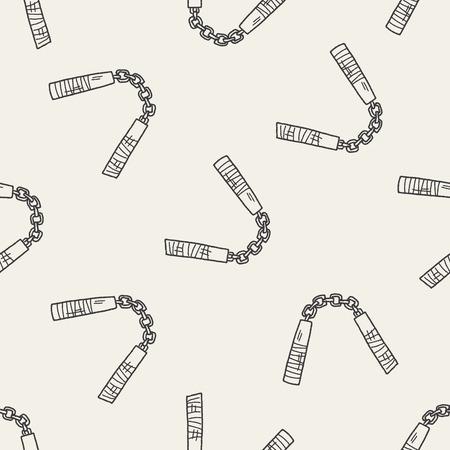 nunchaku doodle seamless pattern background Illustration