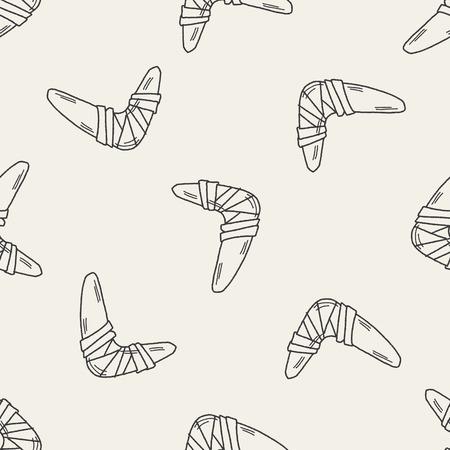 wooden boomerang: Boomerang doodle seamless pattern background Illustration