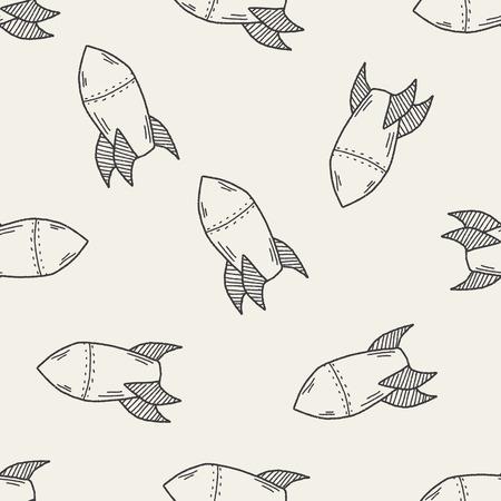 ballistic missile: Missile doodle seamless pattern background