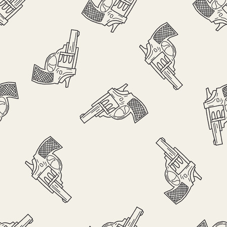 gun shot: gun doodle seamless pattern background Illustration