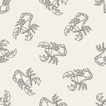 Scorpion doodle seamless pattern background