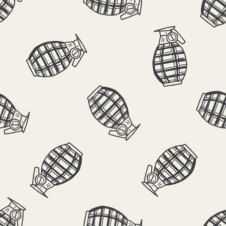 grenade: Grenade doodle seamless pattern background