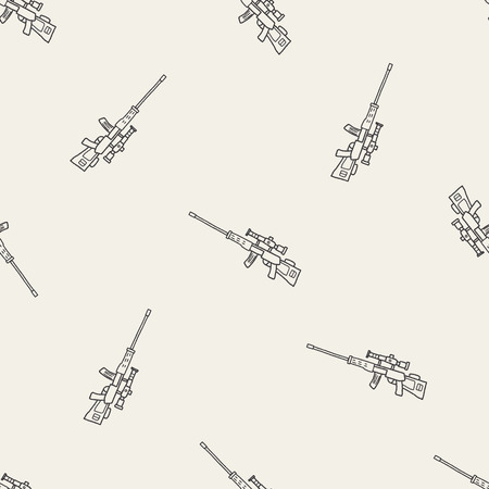 sniper: Sniper rifle doodle seamless pattern background
