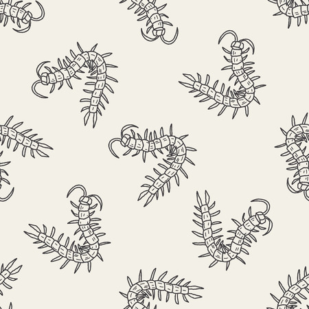 centipede: Centipede doodle seamless pattern background Illustration