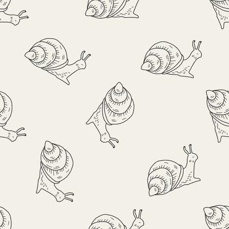 slak doodle naadloze patroon achtergrond