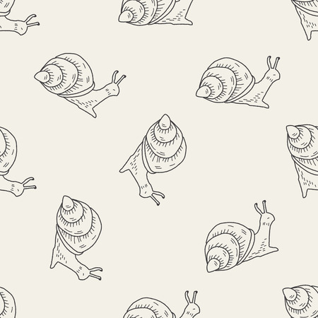 snail doodle seamless pattern background Ilustrace