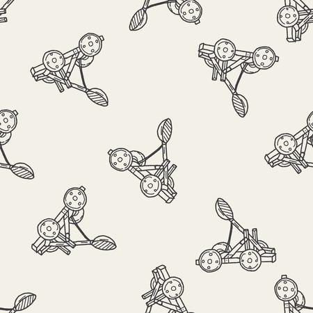catapult: Trebuchet doodle seamless pattern background Illustration