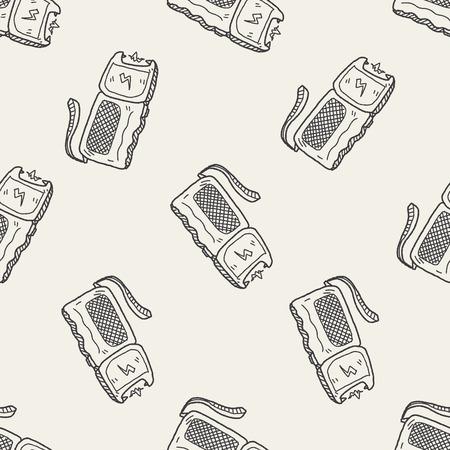 electroshock: stun gun doodle seamless pattern background