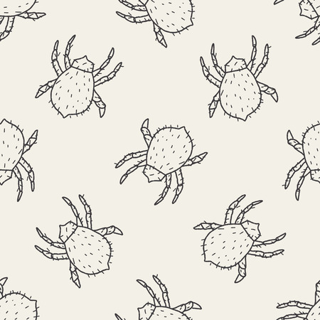 louse: mite doodle seamless pattern background Illustration