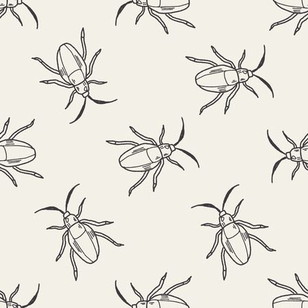 insect doodle seamless pattern background