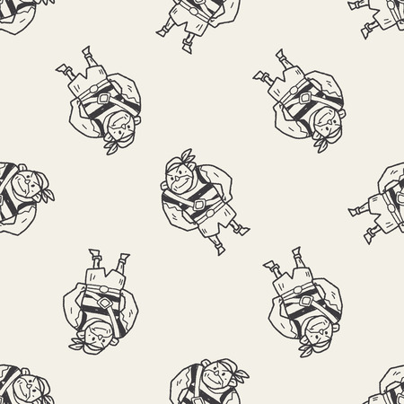 pirate Sailor doodle seamless pattern background Vector