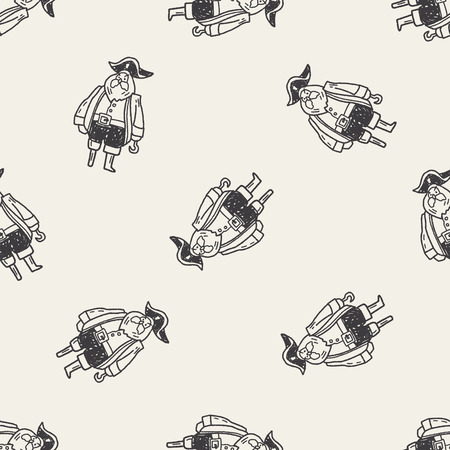 pirate captain doodle seamless pattern background Vector