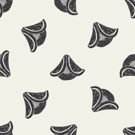 pirate hat doodle seamless pattern background Vector