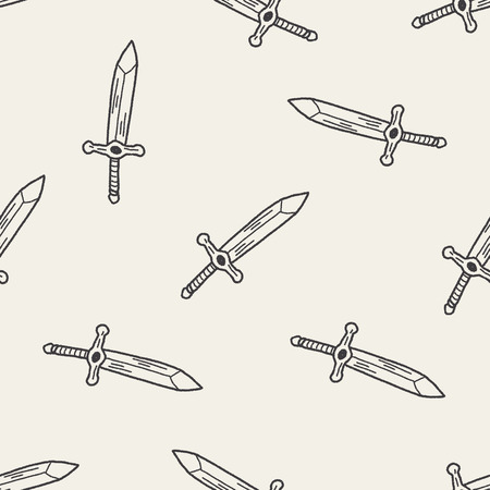 sword doodle seamless pattern background Vector