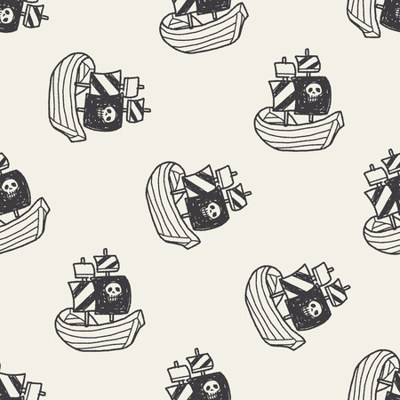 pirate ship doodle seamless pattern background