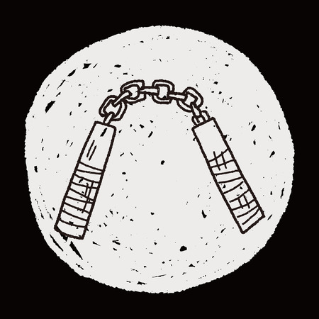 nunchaku: nunchaku doodle Illustration