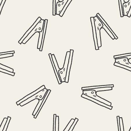 grapadora: Doodle grapadora fondo sin patr�n Vectores