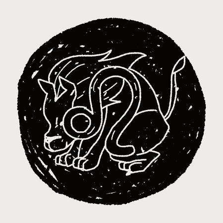 constelacion: Leo la constelaci�n del doodle Vectores