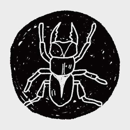 stag beetle: beetle doodle