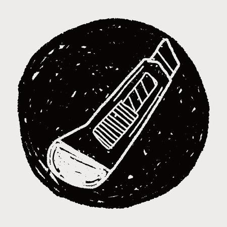 utility knife: utility knife doodle Illustration