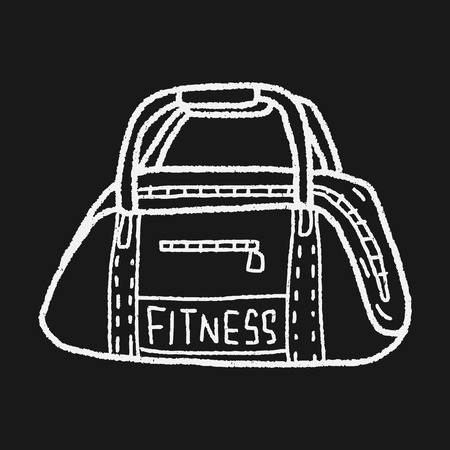 duffle: sport bag doodle Illustration