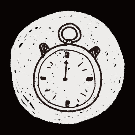stop hand silhouette: stopwatch doodle Illustration