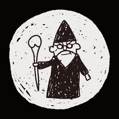 mago merlin: doodle de asistente Vectores