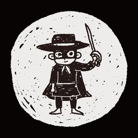 mask man doodle Ilustração