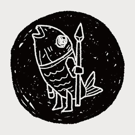 devil fish: monster doodle Illustration