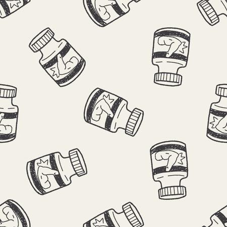 gainer: power bottle doodle seamless pattern background Illustration