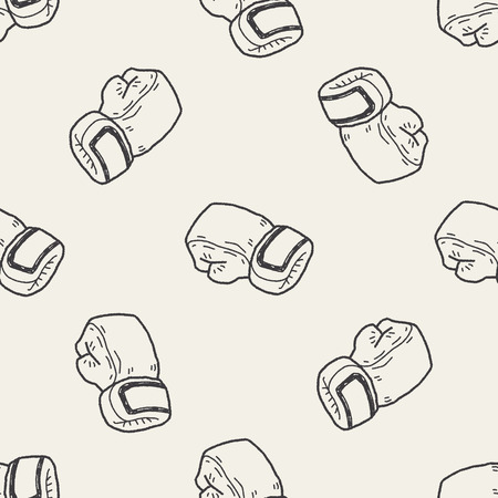 paper punch: sport glove doodle seamless pattern background