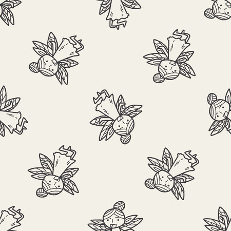 fairy doodle seamless pattern background Vector