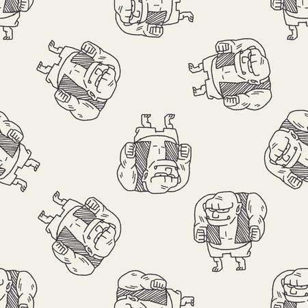 giant ogre doodle seamless pattern background Illustration