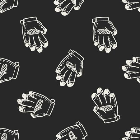 bike glove doodle seamless pattern background Vector
