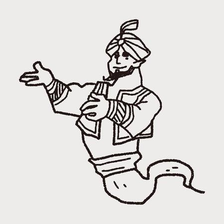 jinn: aladdin garabato Vectores