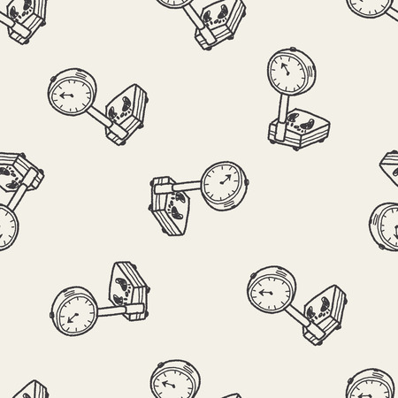 textile care: weight scale doodle seamless pattern background